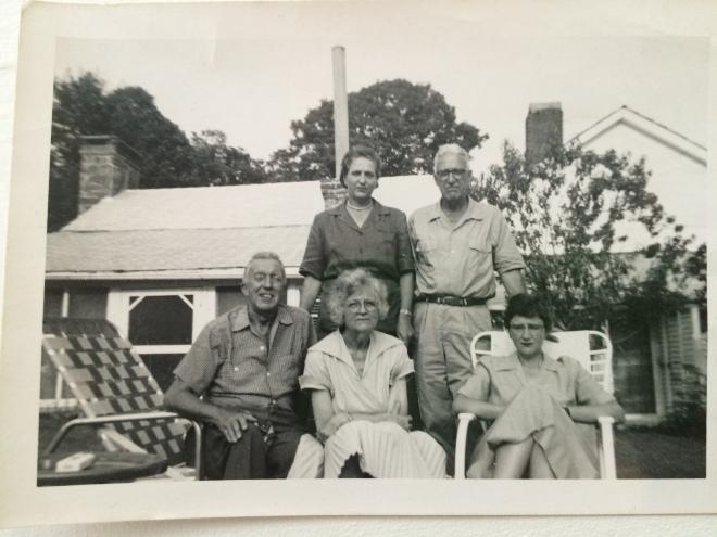1950s, Swago Farm, Pocahontas County, West Virginia. Standing, Dennie and Hunter McClintic. Seated far right, Betty McClintic.