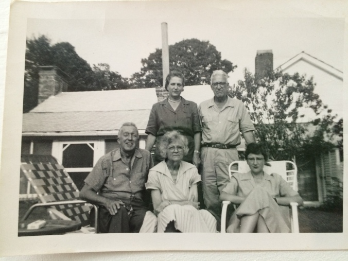 1950s, Swago Farm, Pocahontas County, West Virginia. Standing, Dennie and Hunter McClintic. Seated far right, Betty McClintic.